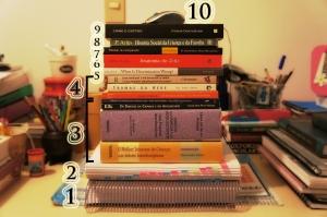 Pilha de livros em meio à bagunça milimetricamente organizada.