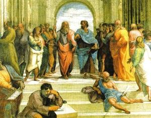 Aristóteles colocando em ordem o seu GT. Platão, como sempre, deixou seu crachá no mundo das ideias.